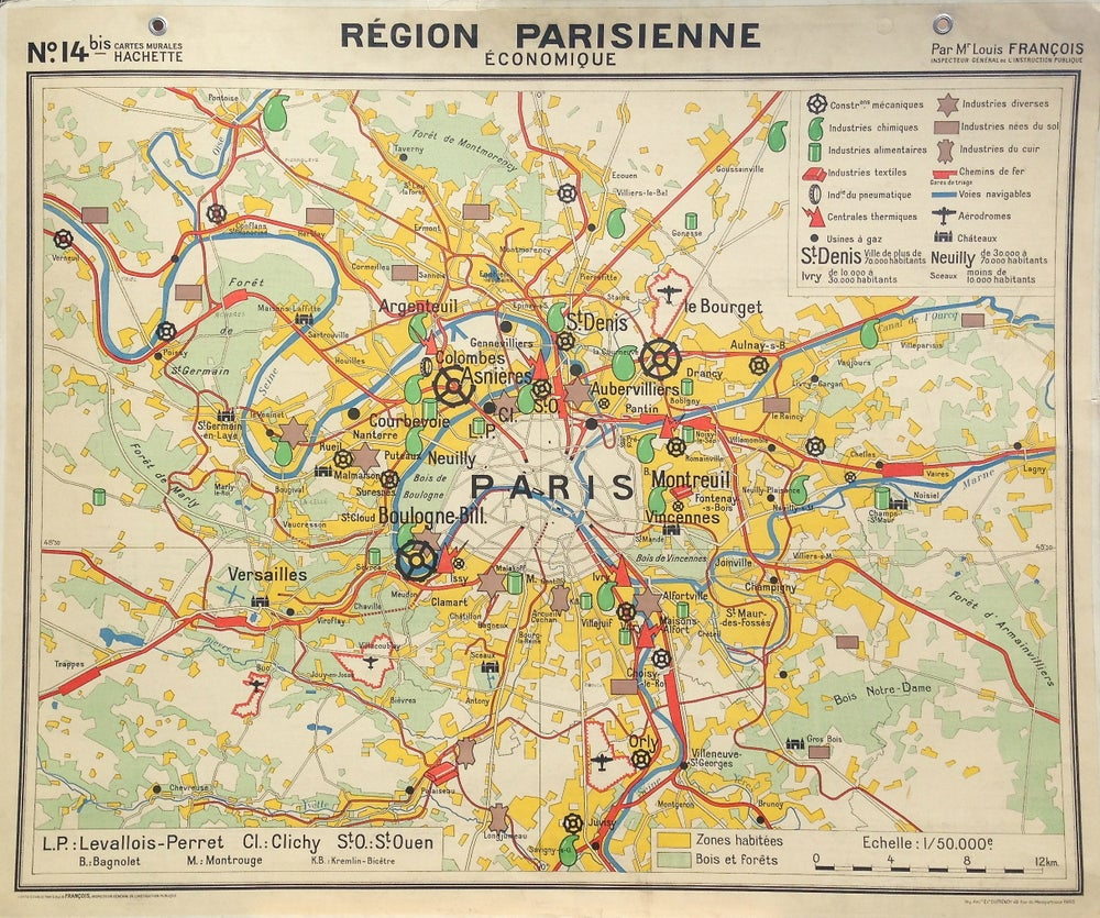Image of 1950s French School Map of the Paris Region