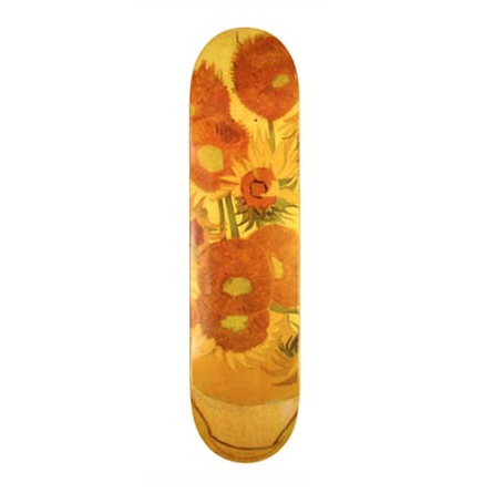 Image of TABLA SKATE ART SKATEBOARDS SUNFLOWERS DE VINCENT VAN GOGH