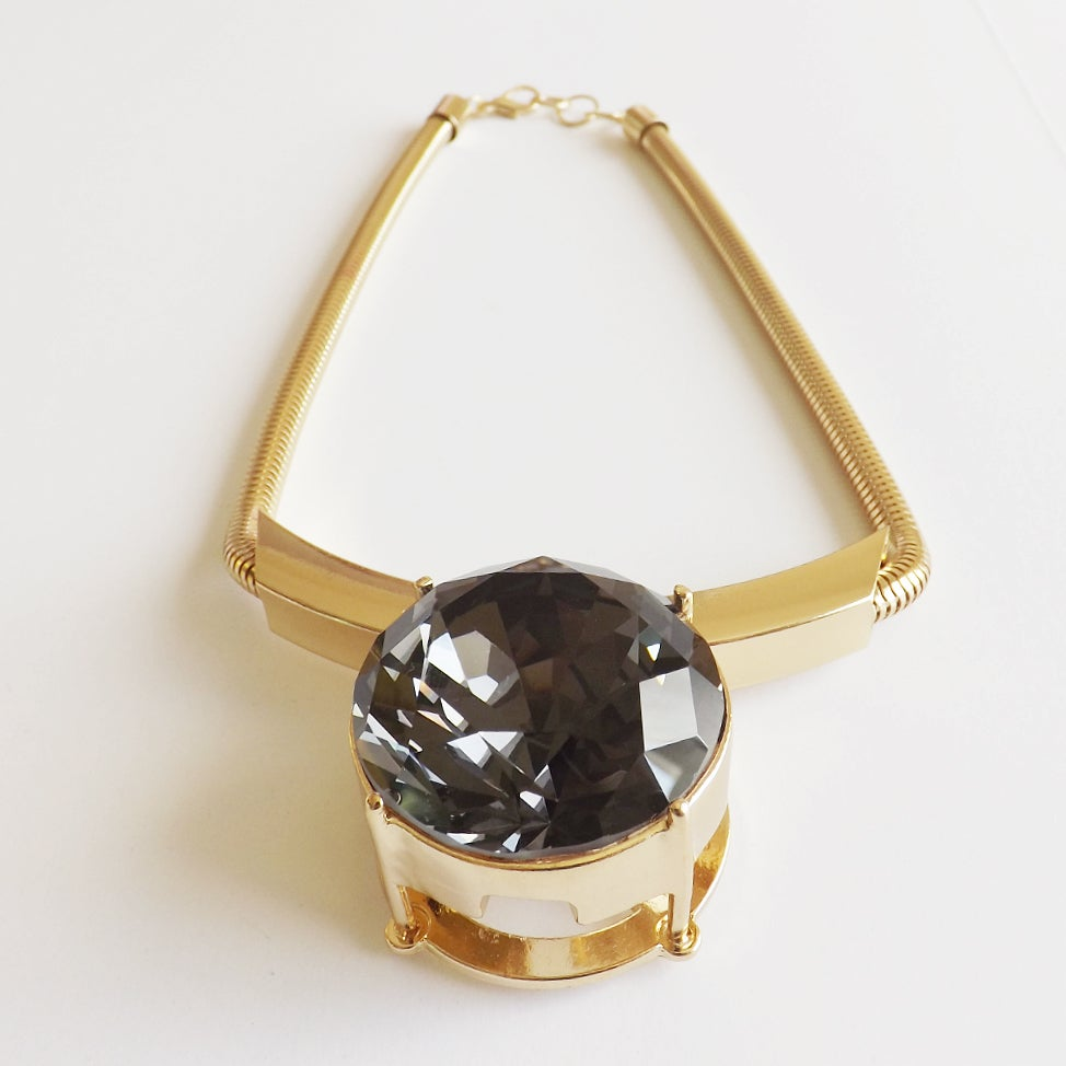 Image of Large Grey Diamond Statement Necklace