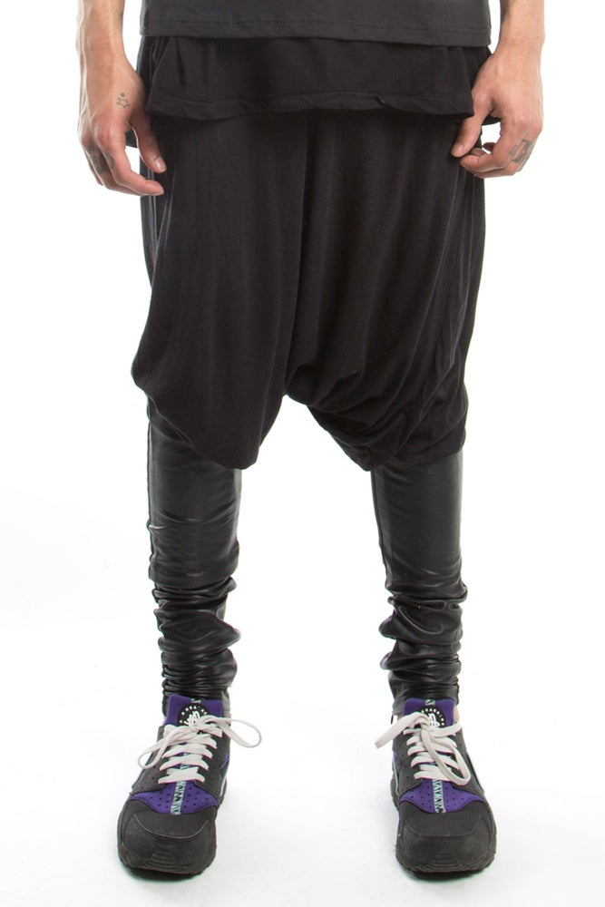 Image of Drop Crotch Leggings with Leather
