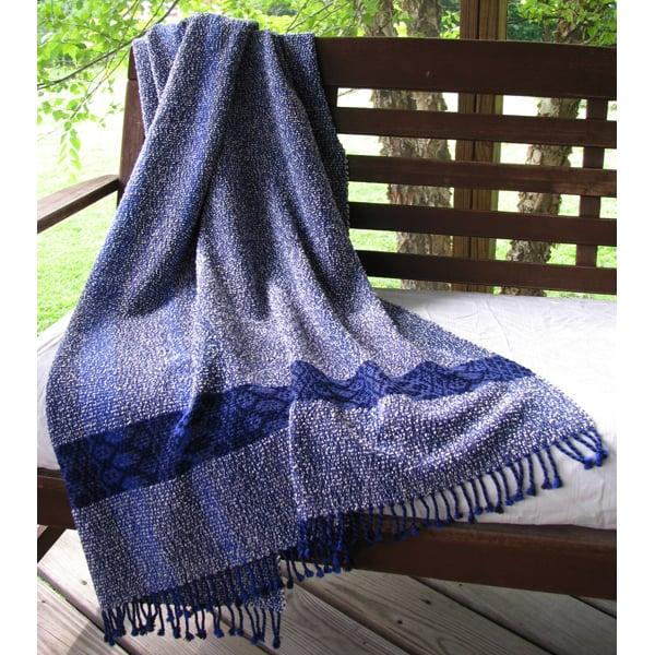 Image of Throw Coverlet Blanket, Blue Indigo Navy Ivory Gray, Handwoven