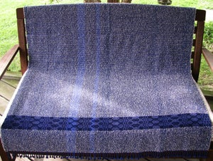 Image of Throw Coverlet Blanket, Blue Indigo Navy Ivory Gray, Handwoven