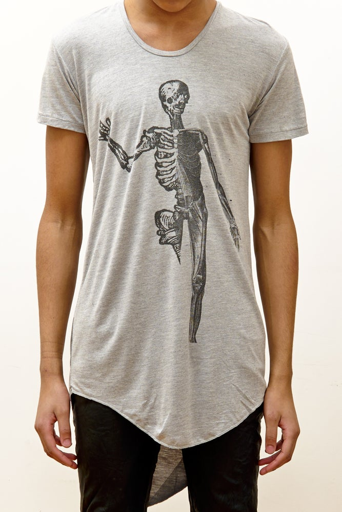 Image of Long Fit T-Shirt with 'Skeleton' Print