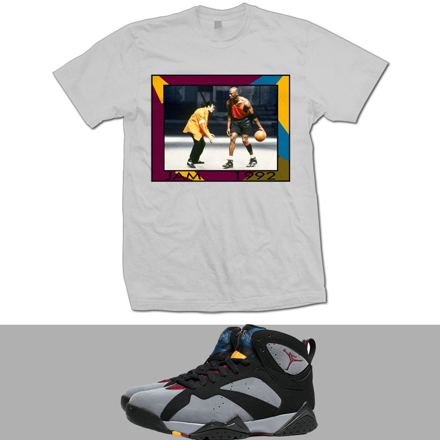 Image of RETRO 7 BORDEAUX JAM VIDEO MICHAEL JACKSON AND JORDAN T SHIRT - GREY -