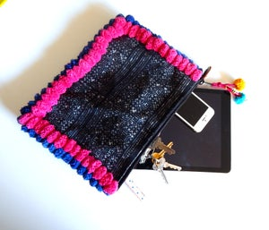 Image of THAI HMONG BLUE POMPOM CLUTCH BAG (BLUE/HOT PINK)