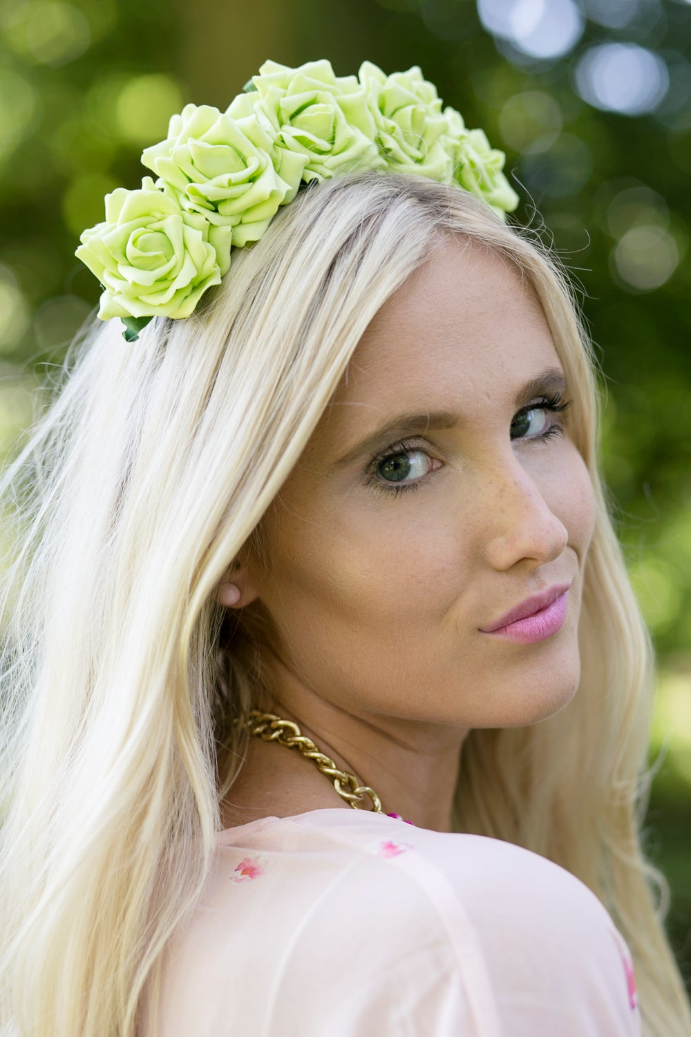 Image of Wild Rose Crown in Lime Green