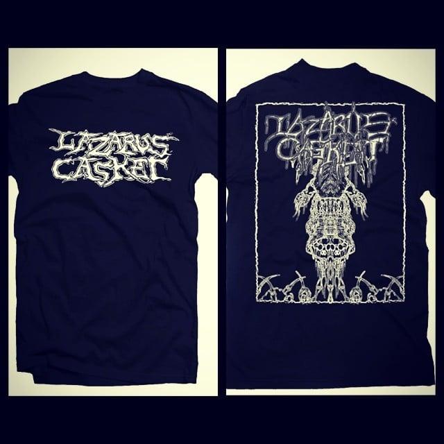 Image of Lazarus Casket album artwork t-shirt