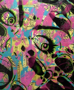 "Image of PaperMonster ""Meteor"" 20 x 24 in Original Canvas 2008"