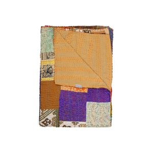Image of SILK KANTHA THROW 4130