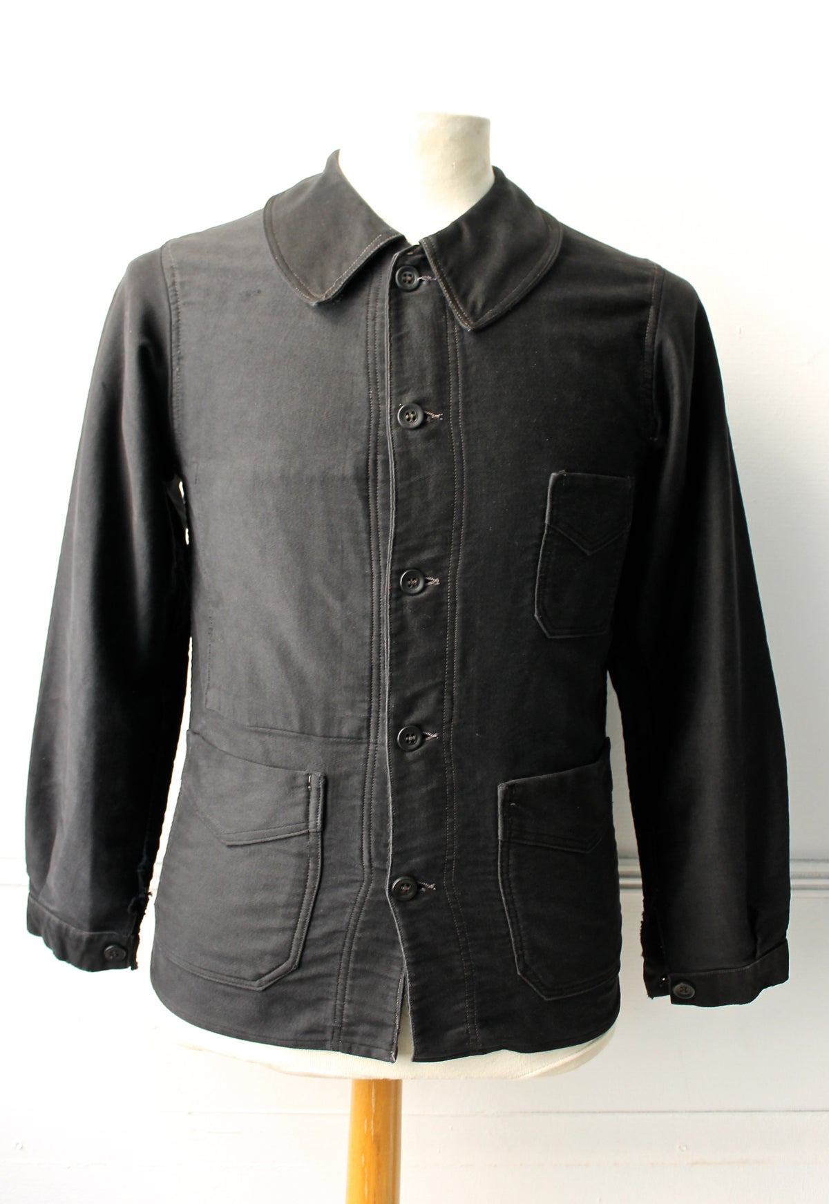 Image of 1910'S FRENCH BLACK MOLESKIN WORK JACKET FADED