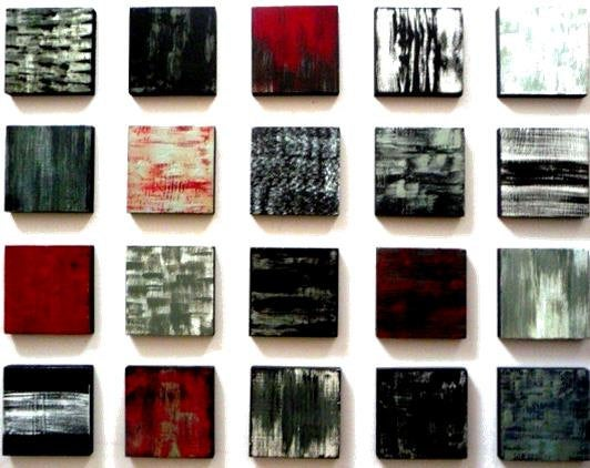 Image of 'POETIC BLOCKS WITH RED' | Painted Wood Wall Art | Wood Blocks Art | Original Abstract Painting
