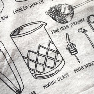 Bar Tools Tea Towel by Alyson Thomas of Drywell Art. Available at shop.drywellart.com