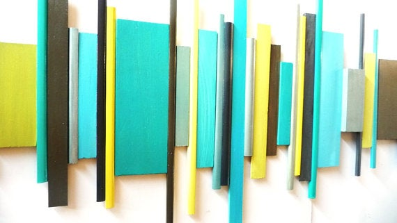 Image of 'STRUCTURE NO18' | | Modern Geometric Abstract Painted Wood Wall Sculpture | Rosemary Pierce