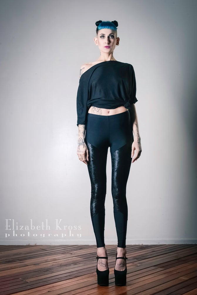 Image of BLACK crushed Velet Leggings