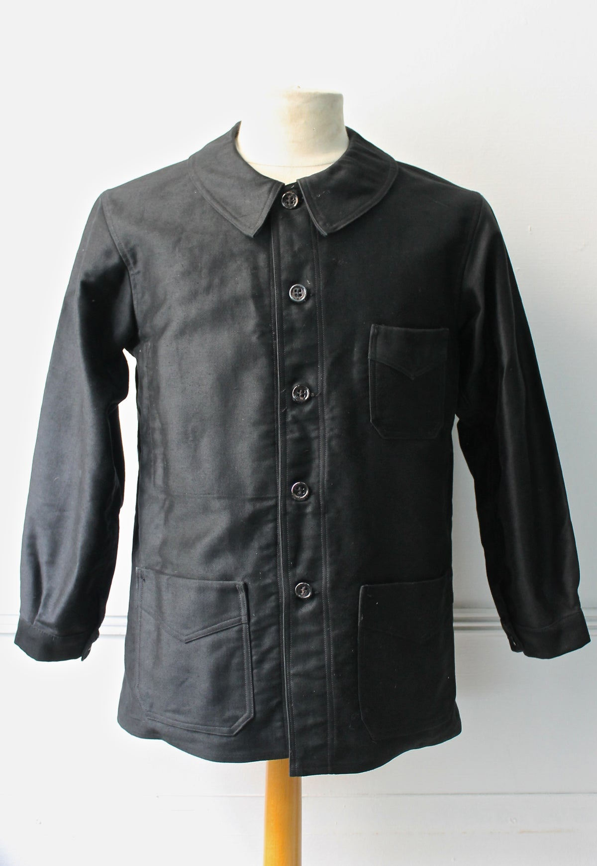 Image of 1920'S FRENCH BLACK MOLESKIN WORK JACKET DEADSTOCK