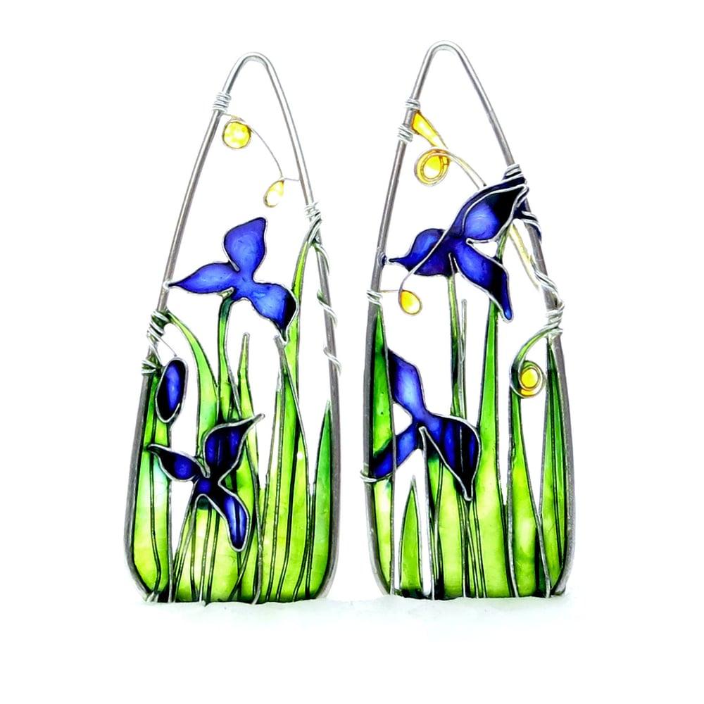 Image of Blue Iris Silver Earrings