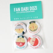 Image of 'Fan Dabi Dozi' Scottish character Badge Pack