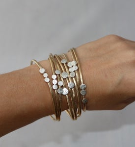 Image of Stacking Brass Cuffs with Sterling Silver Drops