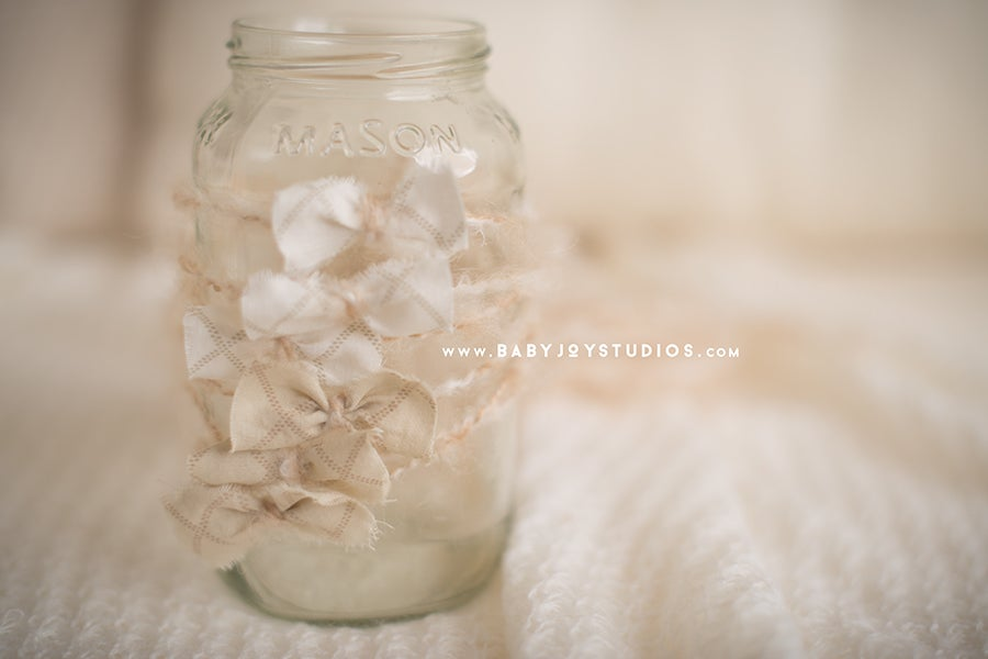Image of {Linen Weave} bow newborn headband