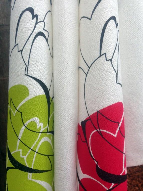 Image of Linen tea towel Big Flower Red