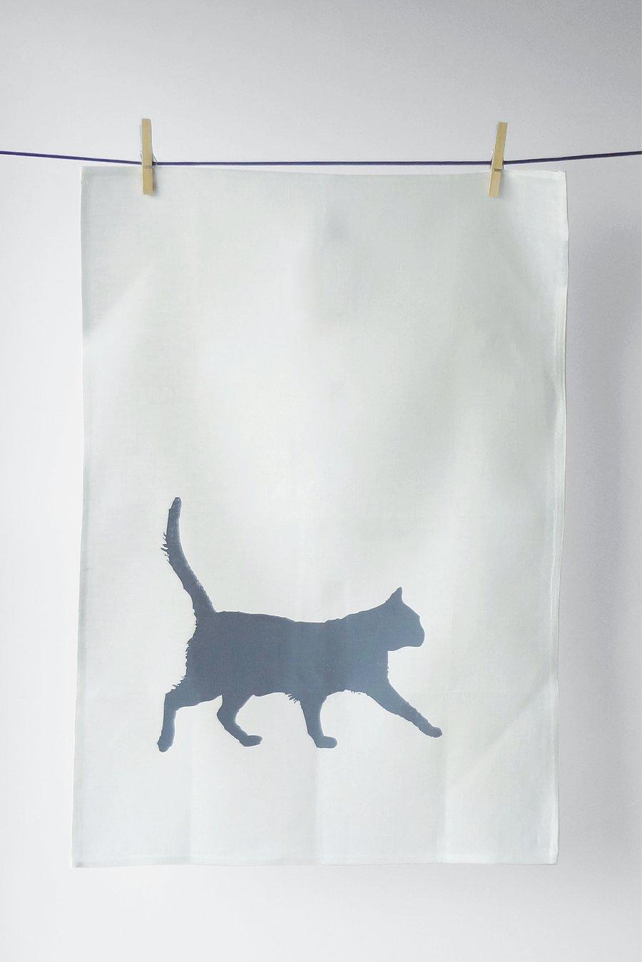 Image of Cat in Grey - Tea Towel