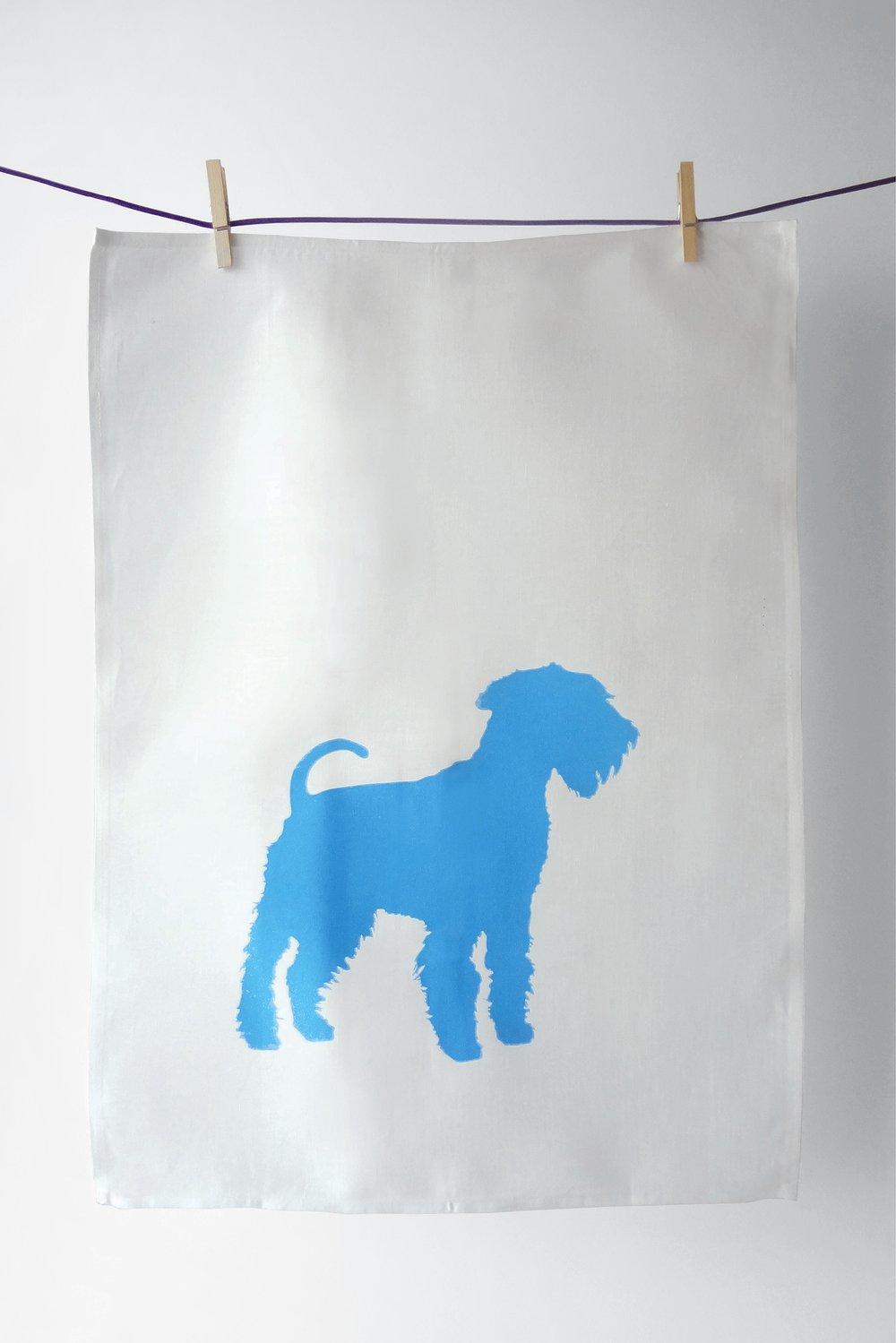 Image of King of Terriers in Cyan - Tea Towel