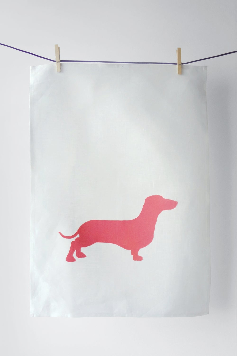 Image of Dachshund in Pink - Tea Towel ::: SOLD OUT :::