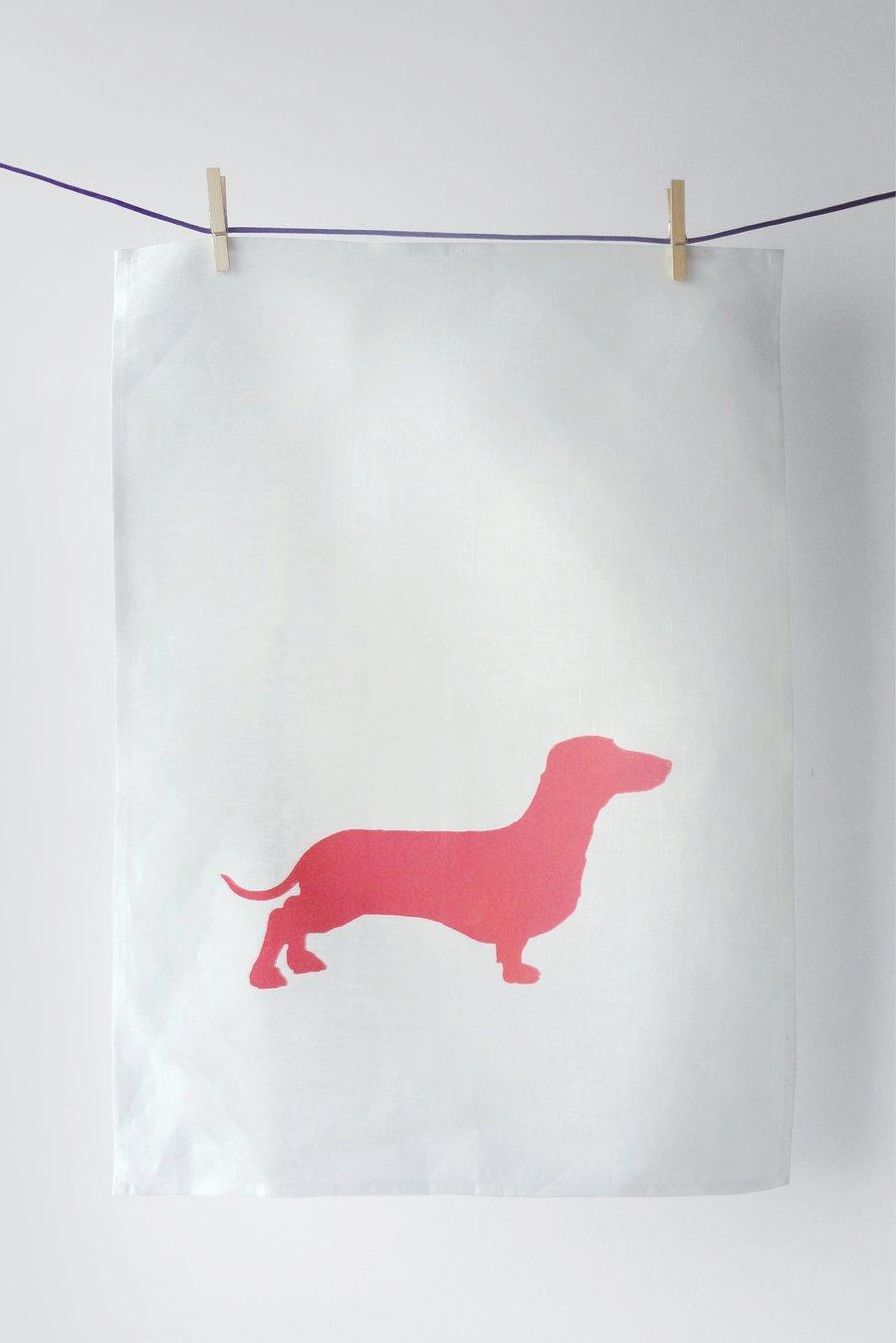 Image of Dachshund in Pink - Tea Towel