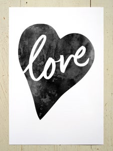 Image of Love Heart art print - Black