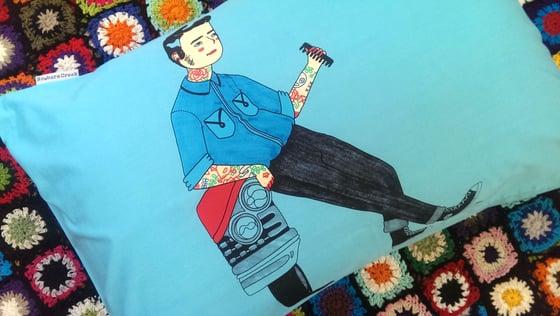 Image of Rockabilly Lou Pillowcase - Blue