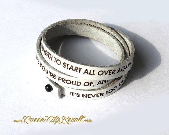 Image of White Leather Custom Engraving Wrap Bracelet, Block Text