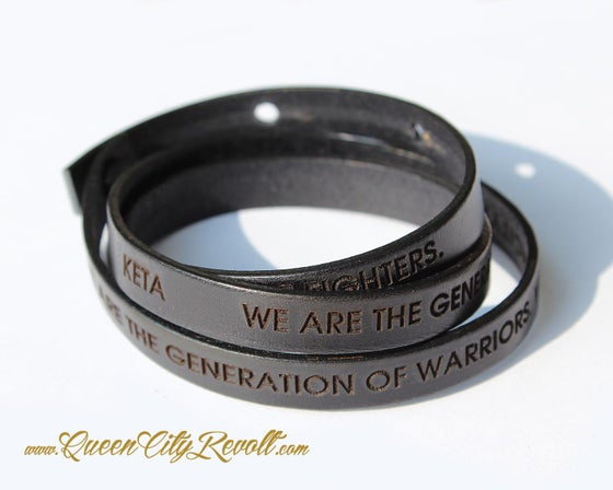 Image of Black Leather Custom Engraving Wrap Bracelet, Block Text