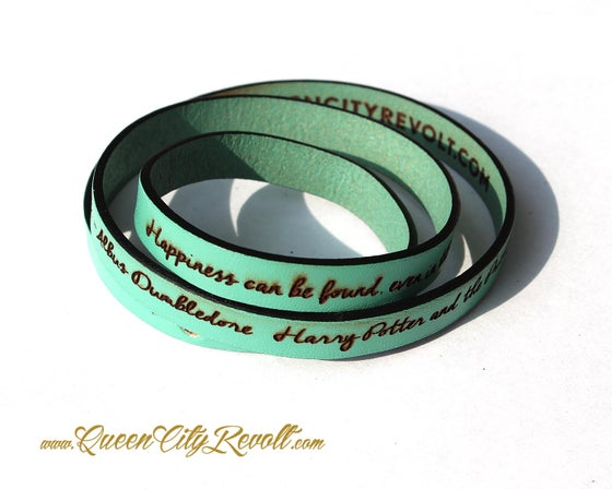 Image of Mint Green Leather Custom Engraving Wrap Bracelet, Script Text