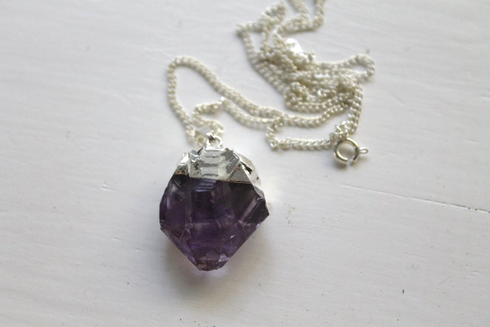 Image of Silver Dipped Amethyst Necklace (Originally $26)