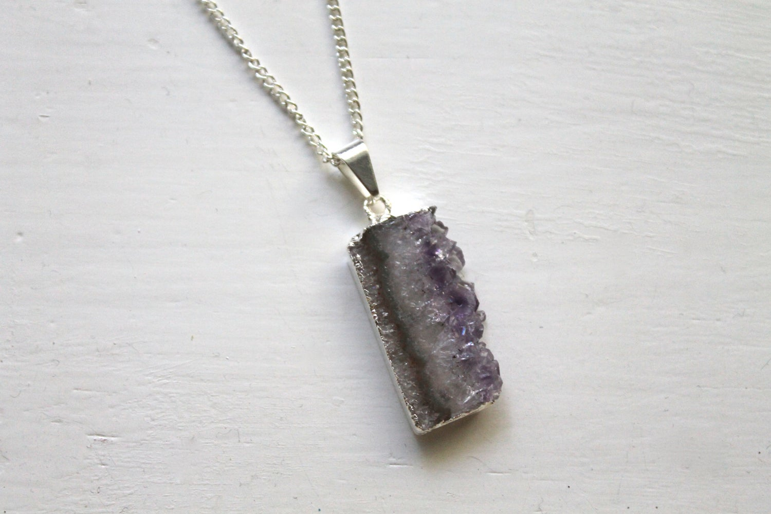 Image of Silver Dipped Amethyst Slice Necklace (Originally $38)