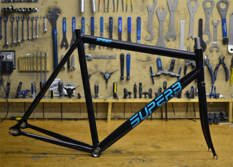 Image of Superb Sprint Frameset (Gloss Black and Teal)
