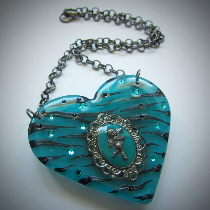 Image of Teal Zebra Cameo Resin Heart Pendant