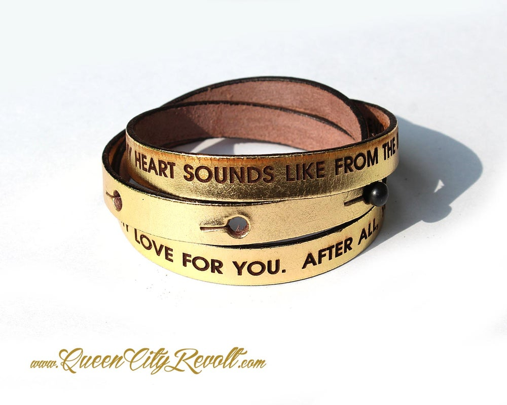Image of Metallic Gold Leather Custom Engraving Wrap Bracelet, Block Text