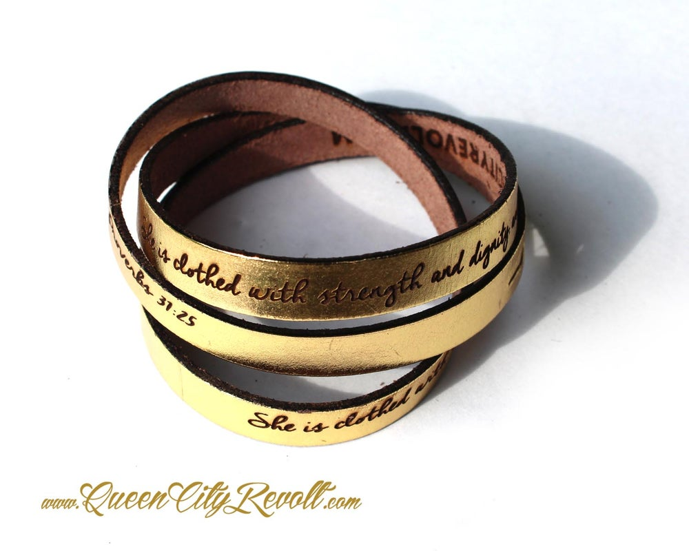 Image of Metallic Gold Leather Custom Engraving Wrap Bracelet, Script Text