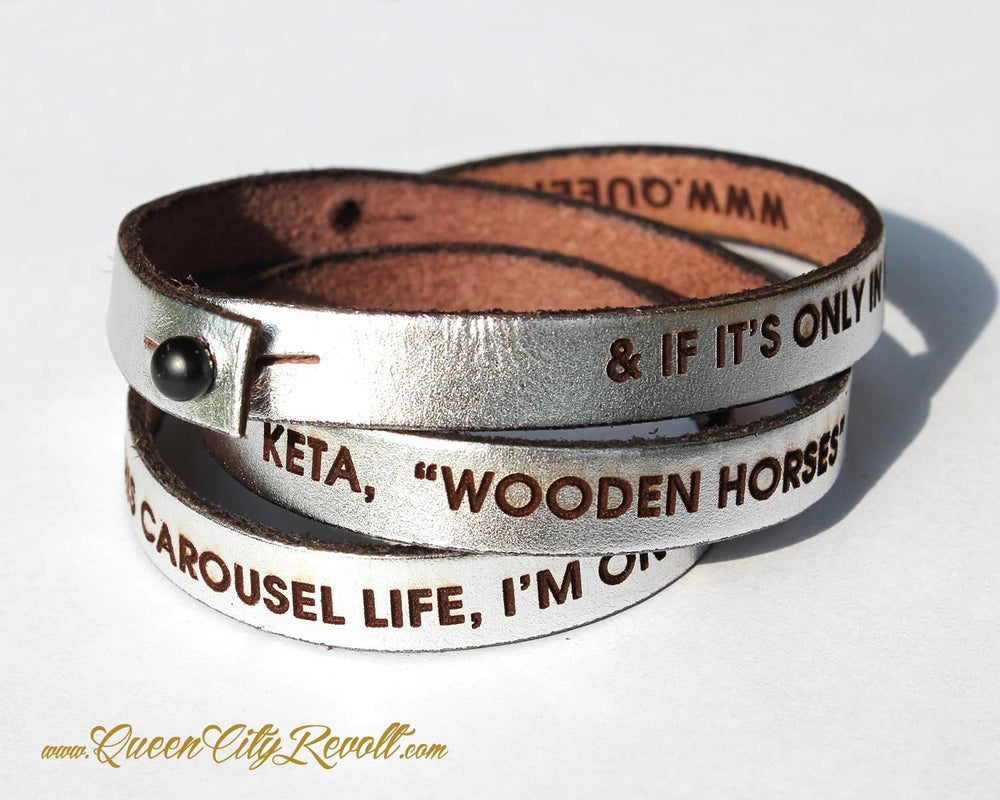 Image of Metallic Silver Leather Custom Engraving Wrap Bracelet, Block Text
