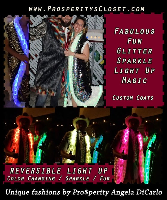 Image of Vest - Light Up, Color Changing, Faux Fur, Sparkly Playa Coat Full Length Vest