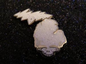 Image of White Glitter Grateful Michigan pin