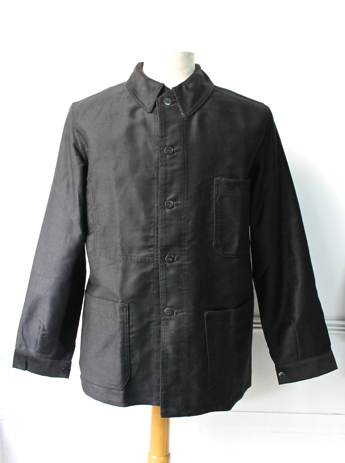 Image of 1950'S FRENCH BLACK MOLESKIN WORK JACKET DEADSTOCK