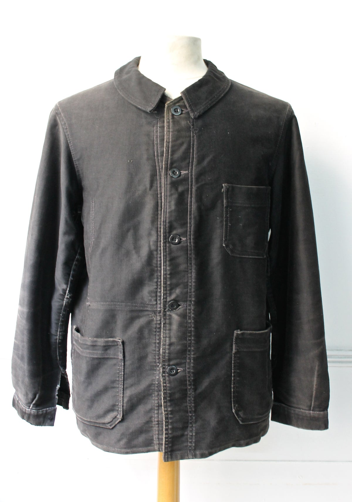 Image of 1920'S FRENCH BLACK MOLESKIN WORK JACKET FADED 2