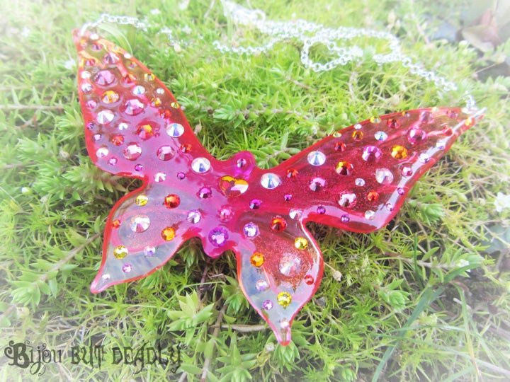 Astral Pink Ombre Butterfly Large Resin Pendant
