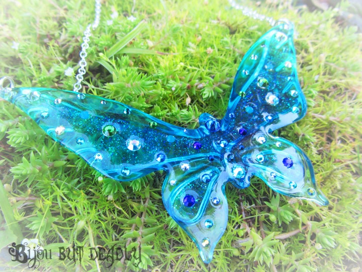 Image of Peacock Ombre Butterfly Large Resin Pendant