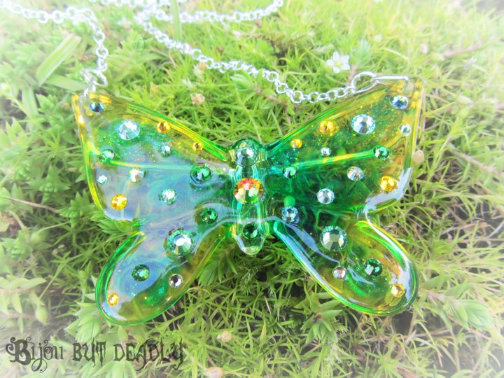Image of Green/Yellow Ombre Butterfly Resin Pendant