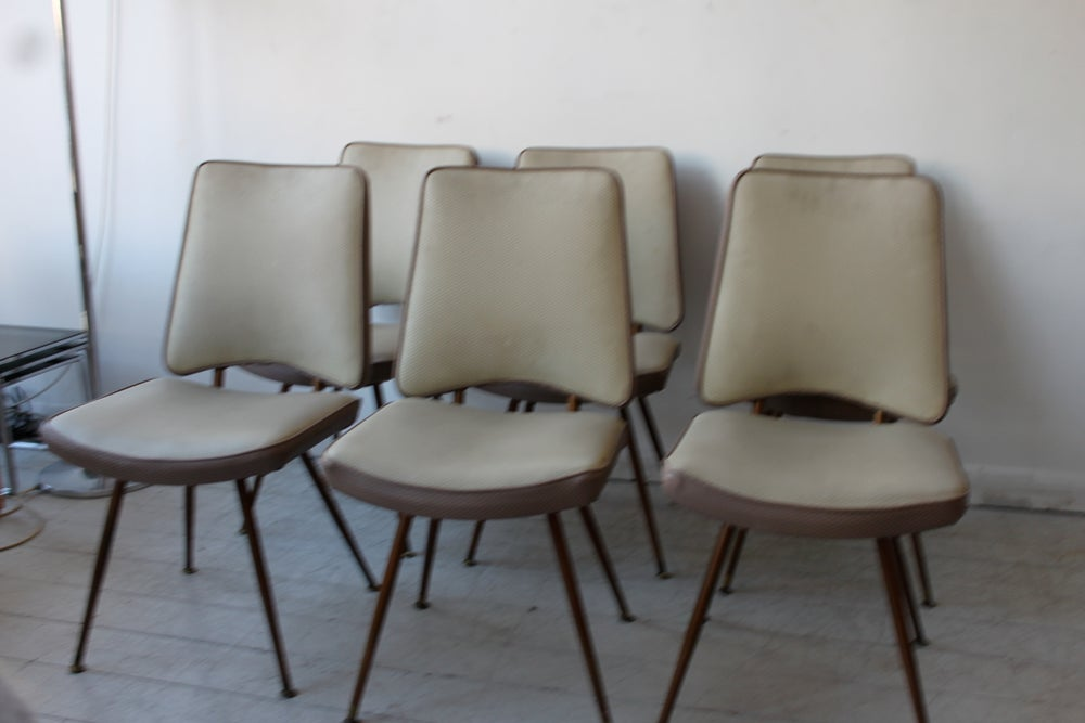 Image of set of six 1950's french dining chairs