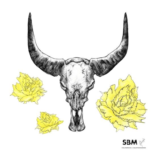 Image of Buffalo Skull Print