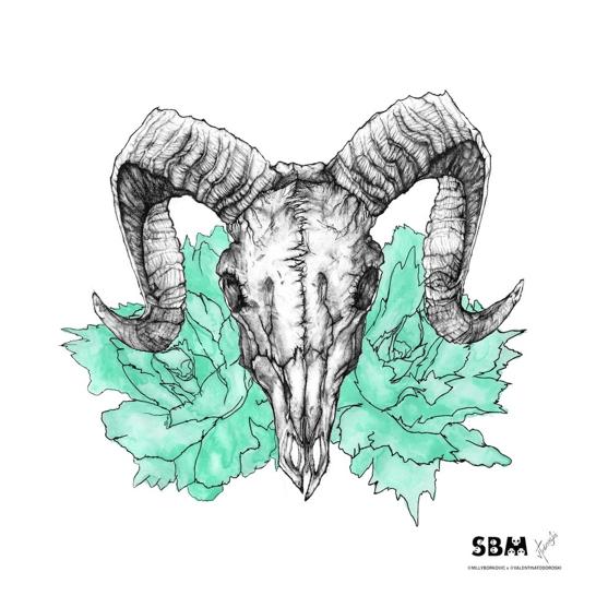Image of Ram Skull Print